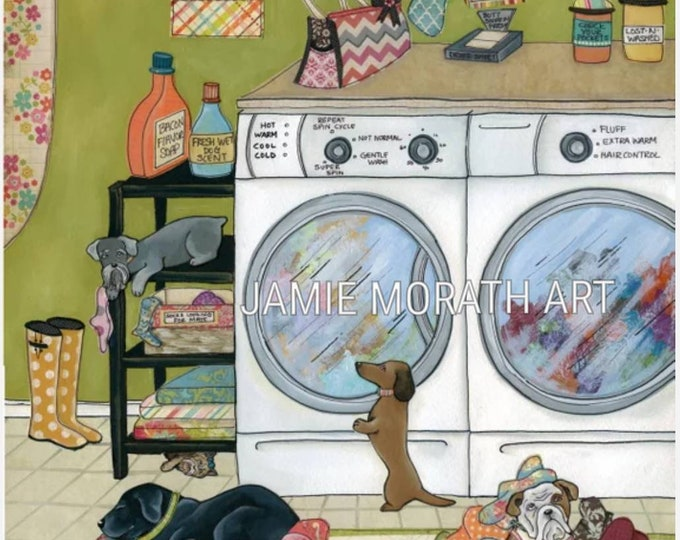 Most Memorable Days, dog laundry room art print, ornaments available, washer dryer, laundry sign. dirtiest clothes quote, lab, dachshund