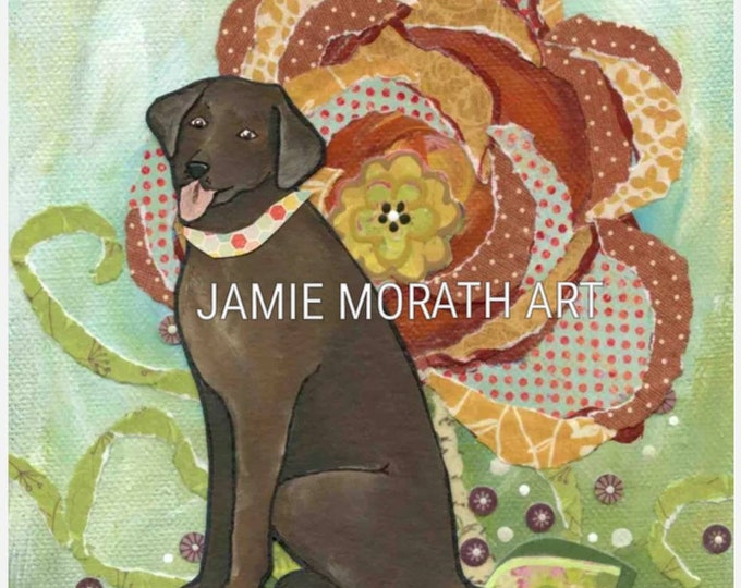 Chocolate Lab, Labrador retriever portrait with orange mixed media floral background