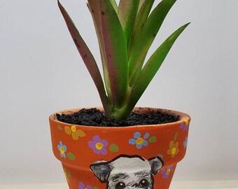 Schnauzer mini pot with artificial succulent