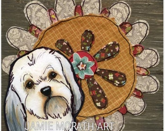 Flower Shih Tzu, dog art print with rustic colored flower background