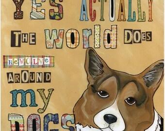 Around My Dog, corgi dog art print