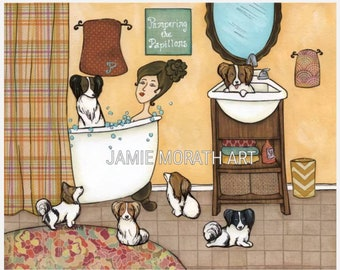 Pampering the Papillons, lady in bath tub with papillion dogs in bathroom, plaid shower curtain, funny bathroom dog art print, ornaments