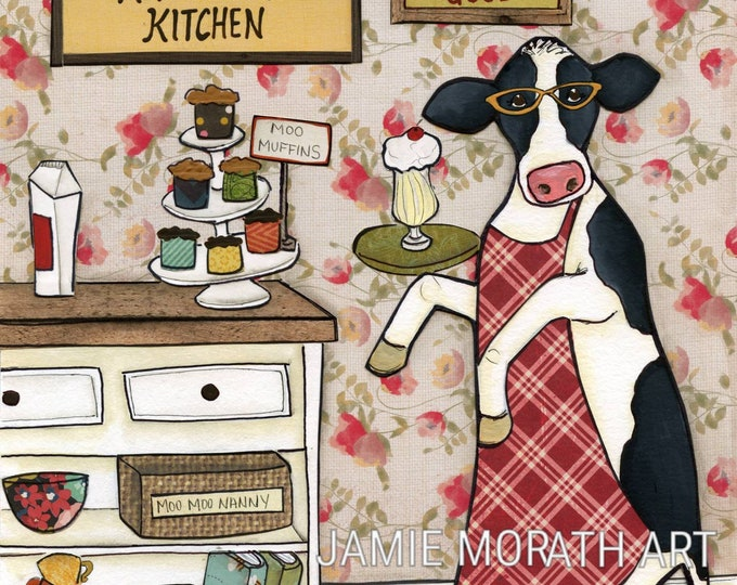 Herd To The Kitchen, My Milkshakes bring all the herd to the kitchen, cow with glasses kitchen wall art, red apron, moo, nanny, milk