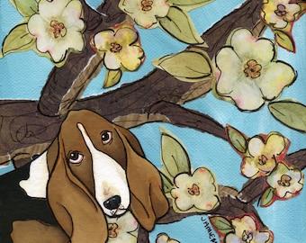 Spring Basset, Bassett hound dog with long floppy ears, cherry blossom tree flower branch art background, portrait print
