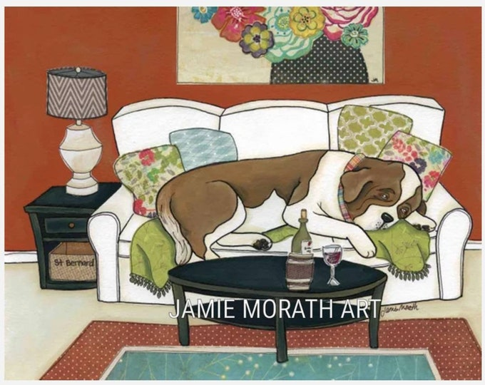 St Bernard Couch Hog, Saint Bernard sleeping on white couch dog art print, Christmas dog ornament, wine dog, big dog art painting