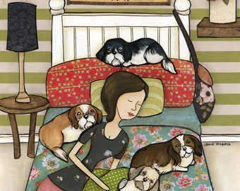 Now I lay me down to sleep, I pray the dogs won't have to pee. If they do before I wake, many coffee breaks I'll have to take, shih tzu art