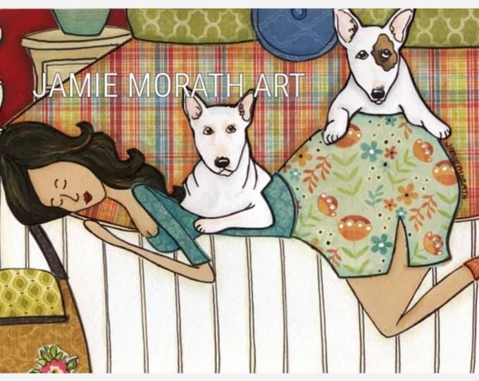 Bed Full of Bull, Bull Terrier dog art print available in wood ornament, lady dog bedroom bed