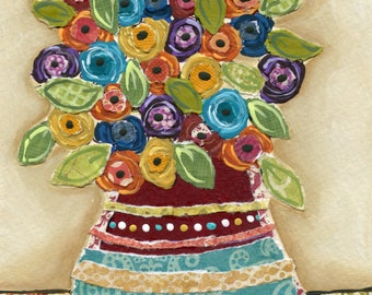 Full of Life, mixed media flower wall art print