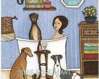 Greyhounds Wash, Greyhound in bathtub with lady, bathroom dog art