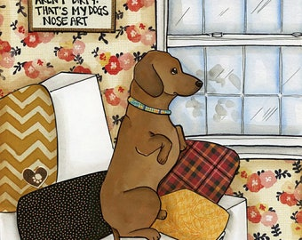 Nose Art, dachshund dog art print