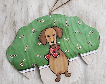 Candy Can Dachshund ornament