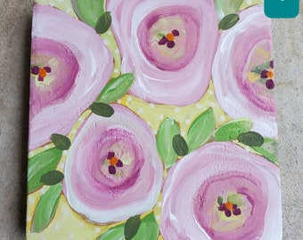 Flower Original Painting on stained wood