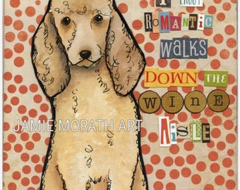 Wine Aisle, goldendoodle dog art print, available in wood Ornament, I like long walks down the wine aisle