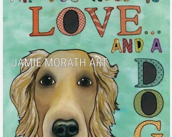 Love Dog, golden retriever, All you need is love and a dog, turquoise word dog quotes, wood ornament, golden dog wall art print