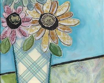 Sunday Morning Sun, mixed media flower wall art print