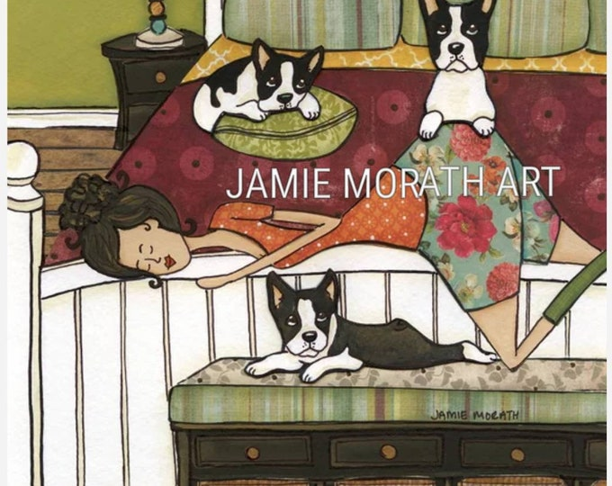 Boston's Bed, lady laying in bed with boston terriers, available in prints