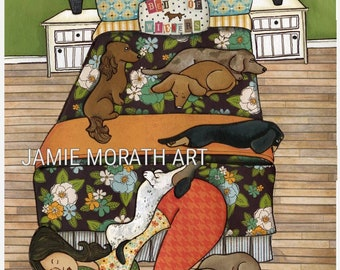 Bed of Wieners, dachshund dog art print, doxie on bed with lady sleeping, bedroom decor, funny, piebald, bedding, flower shirt, dapple doxie