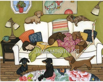 Couch Wieners, dachshund dogs laying on couch with lady with hot air balloons on wall, doxie dog art print, ornament available