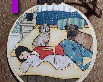 Sharpei, Borzoi, Puli, Bull Terrier ornaments