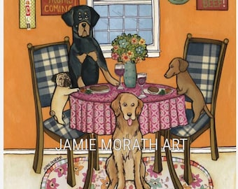 Hurry Mom's Coming, funny kitchen art print, Rottweiler, pug, dachshund, golden retriever