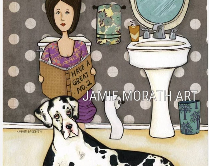 Great NO.2, Great Dane dog art print, black and white spotted Dane, funny bathroom toilet art