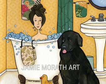 Not Just a Dogs, Newfoundland it's a lifestyle, dog art print, big fluffy black dog, lady in bath with bubbles, dog in bath, bathroom