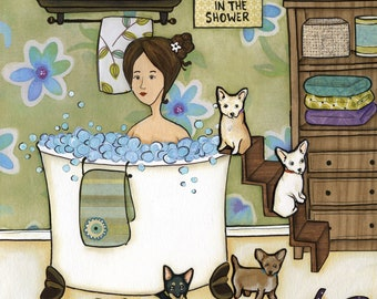 Chihuahuas and Bubbles, lady bubble bath with chihuahua, bathroom dog art print and ornament available
