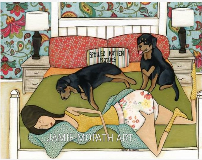 Spoiled Rotten Rotties, rottweiler dog art print,  bedroom home decorating, design pillows, paisley pattern wallpaper, available in ornament