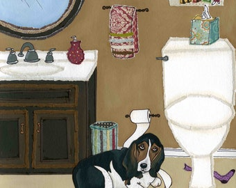 Daisy Mae, big Basset Hound dog unrolling toilet paper in bathroom, ornaments available