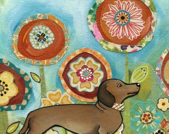 Doxie, dachshund dog portrait with mixed media flower pattern background, spring flower art