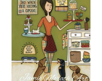 Paw Muffins, You can't be sad when holding a cupcake, dachshund, doxie, sausage dog, kitchen muffin art