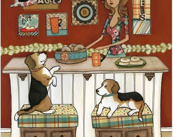 Beagles and Bagels, dog art print