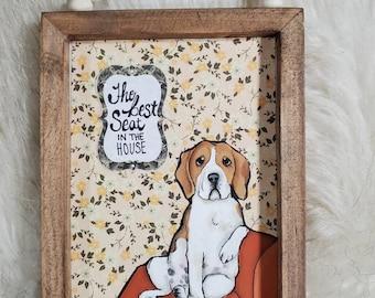 Beagle Best Seat original painting on wood
