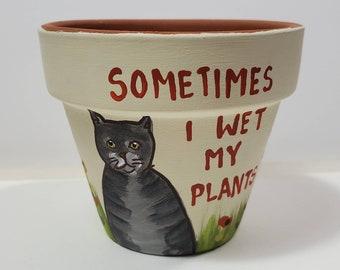 Cream Wet My Plants pot