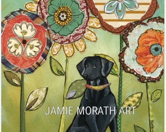 Lovin Lab, Black Labrador retriever dog art print with flower pattern mixed media background
