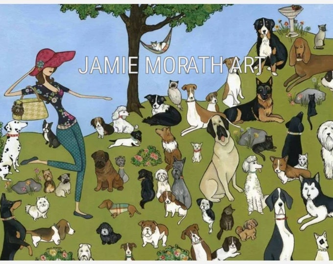 Animal Love, with over 50 dogs and several cats in one painting, it's a dogs world, dog sitter or walker gift