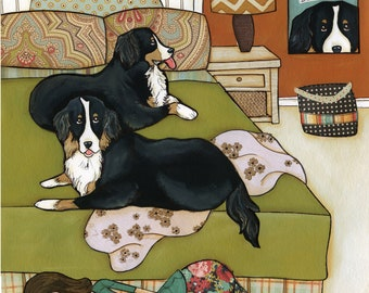 Sweet Mountain Dreams, Bernese mountain dog art print, Bernese sleeping in king size bed with lady on floor in floral pajamas, dog ornament