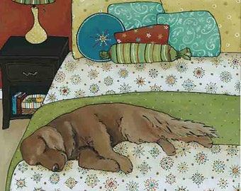 The Golden Nap, golden retriever dog art print, painting, snowflake pattern bedding blanket, dog ornament, turquoise, yellow, blue, green