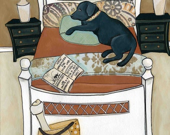 Adore My Lab, Black Lab in the bed, Pretty Bedding, Lab art