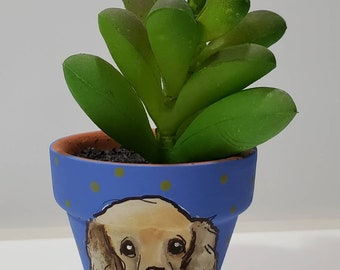 Cocker Spaniel pot with artificial succulent
