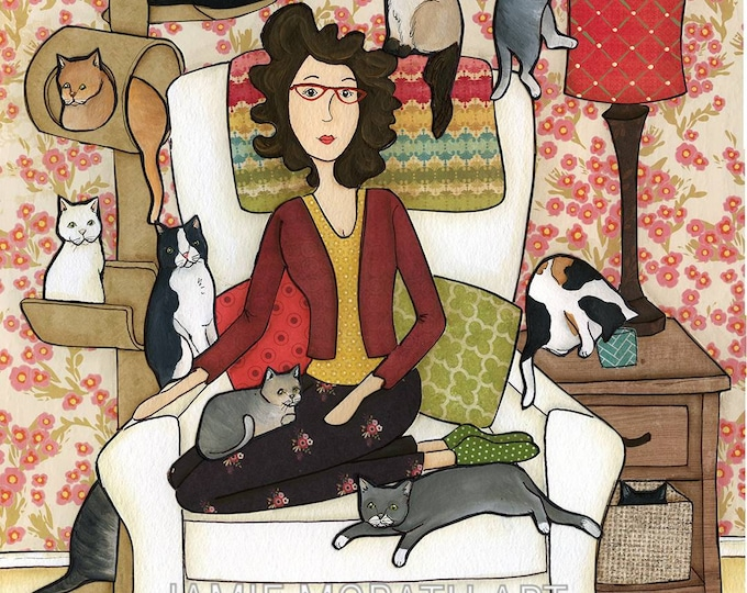3 Cats Ago, I was normal, crazy cat lady sitting in chair full of cats with cat tower, cat drinking out of cup, cat art print painting