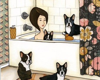 Boston Booty Wash, Lady in bathtub with Boston Terriers, Bathroom art, Dog art, Boston Terriers are awesome, Bath time, Ornaments available