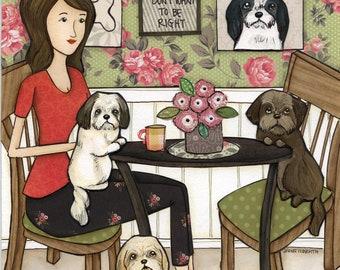 Feed the Shihtz, Shih tzu dog art print, bone appetit, kitchen home decor, dogs dining, coffee, shizu, shi tzu, whimsical mixed media art