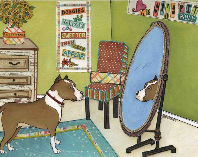 Doggies in the Mirror, pitbull dog art print