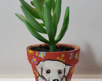 Great Pyrenees mini pot with artificial succulent