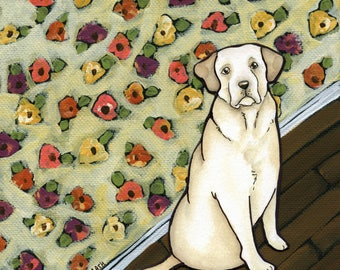 Skittles, Yellow Labrador retriever dog portrait with lab in front of floral wallpaper