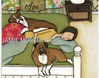 Boxer Love, lady sleeping with boxers wall art, available in ornament