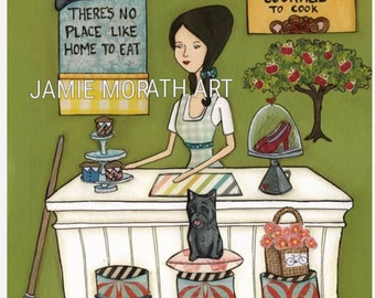 Courage To Cook, Wizard of OZ, There's no place like home, Dorothy art print, ruby slippers, Kitchen decor, princess pillow, witches broom