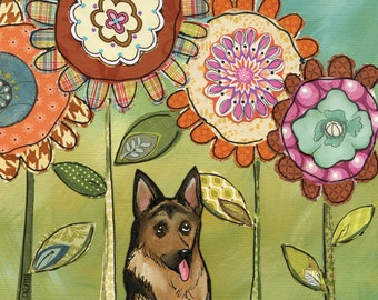 Spring With My Shepherd, German Shepherd dog portrait with floral background