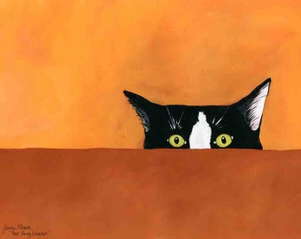 You're Being Watched, black and white tuxedo cat peeking over the ledge with orange background, cat with green eyes wall art print ornament